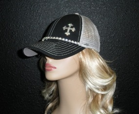 Black and Gray cap with rhinestone cross