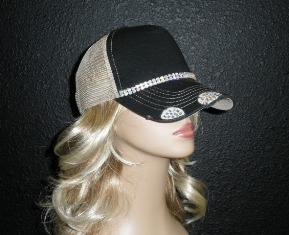 Black and Tan trucker hat with double row AB crystal rhinestone chain