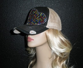 Black and Tan trucker hat with multi colored crystal rhinestone heart