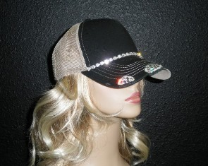 Black and Tan trucker hat with single row crystal rhinestone chain
