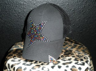 Black cap/hat with multi colored crystal rhinestone star