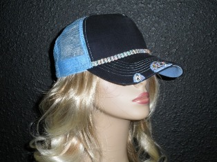 Blue trucker hat with double row AB crystal rhinestone chain