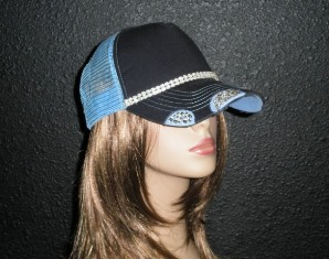 Blue trucker hat with double row crystal rhinestone chain