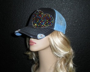 Blue trucker hat with multi colored crystal rhinestone heart