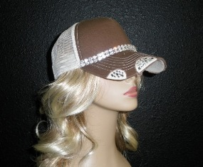 Brown and Tan trucker hat with 2 rows crystal rhinestone chains