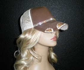 Brown and Tan trucker hat with double gold rhinestone chain