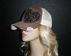 Brown and Tan trucker hat with multi colored crystal rhinestone heart