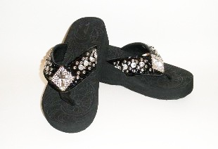 Montana West rhinestone cross in diamond Flip Flops
