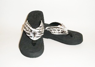 Montana West Zebra with rhinestone cross Flip Flops