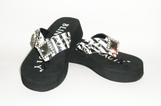 Bling Beauty zebra diamond rhinestone flip flops, style 04