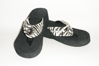 Montana West Zebra with rhinestone diamond Flip Flops