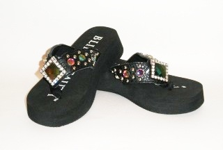 Bling Beauty diamond iridescent crystal rhinestone flip flops, style 09