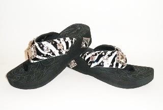 Montana West zebra with diamonds rhinestone flip flops style 007