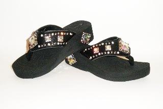 Montana West iridescent diamond rhinestone flip flops style 012