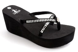 Corkys strappy rhinestone wedge sandals-Style France