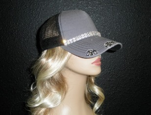 Gray and Black trucker hat with 2 rows crystal rhinestone chains
