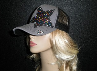 Gray and Black trucker hat with multi colored crystal rhinestone star