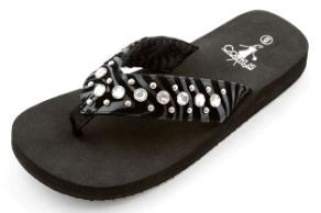 Corky's black zebra rhinestone flip flops-Style Evelyn